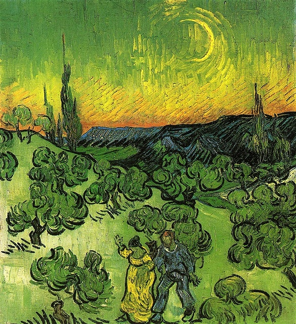 Vincent Van Gogh. Landscape with Couple Walking and Crescent Moon (1890)