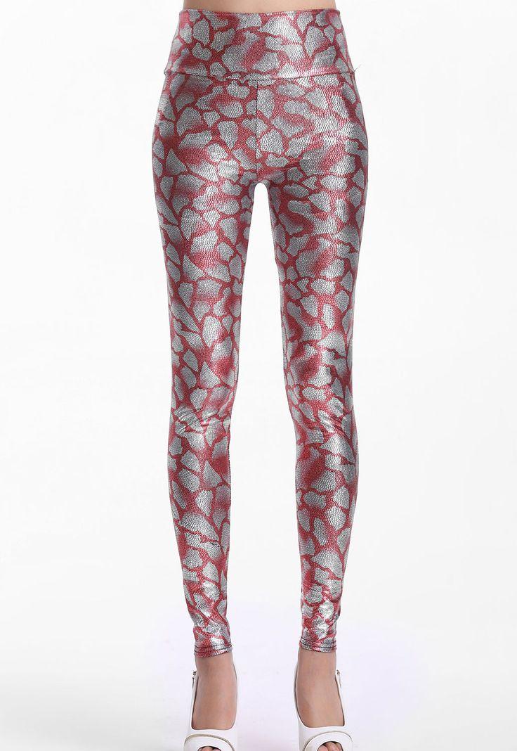 Leggings Rose Metallic Regardez Pant Serpentine Tight Pas Cher www.modebuy.com @Modebuy #Modebuy #CommeMontre #me #Rose #stylish