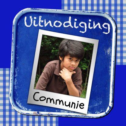 Uitnodiging krijtbord blauw - BK - Communiekaarten - Kaartje2go