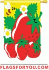 Applique Strawberries & bee Garden Flag - 5 left