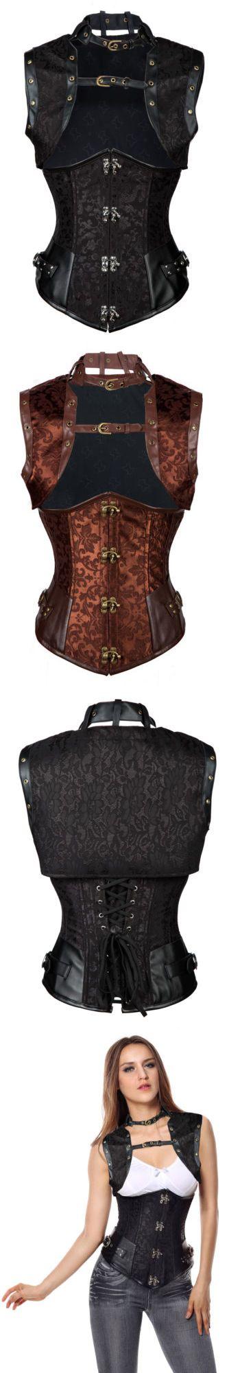 Sexy Lingerie: Steampunk Retro Steel Boned Waist Cincher Underbust Corset With Jacket Plus Size -> BUY IT NOW ONLY: $35.09 on eBay!