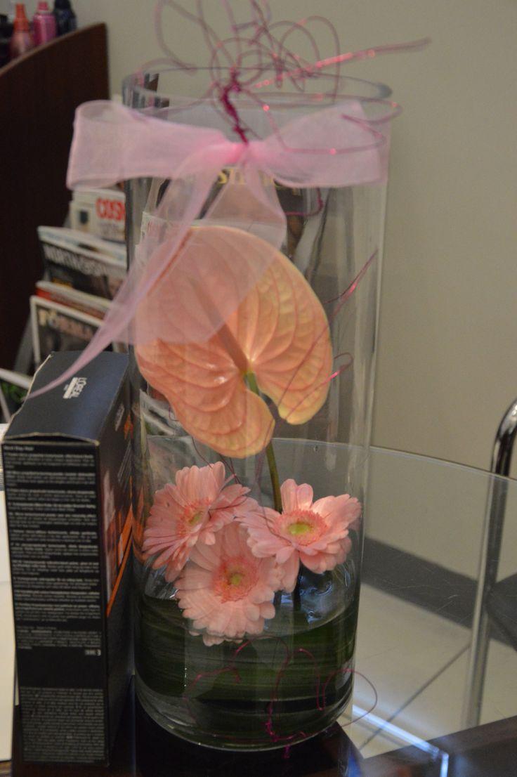 Pink Anthurium, Pink Gerberas , Ribbon & Wired Hearts