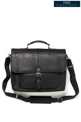 Black Leather Oily Briefcase http://bit.ly/1WGTWMO