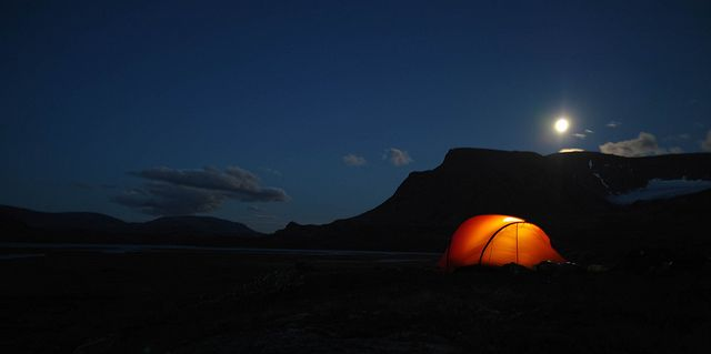 Hilleberg Anjan tent in Sarek National Park pitched behind a Fjäll under the moon.      More about this trip on our blog at: http://hikeventures.com/hiking-and-packrafting-in-sarek-day-1/