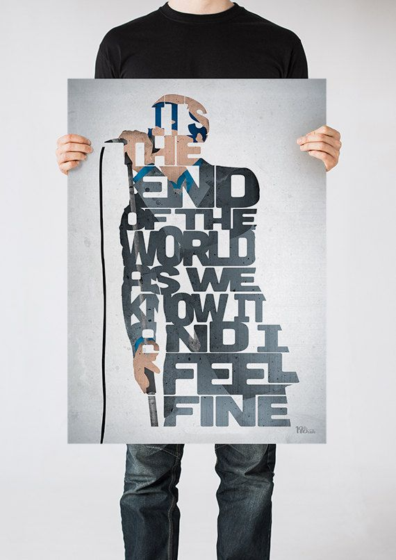 Michael Stipe typography art print poster based on by 17thandOak, £3.00