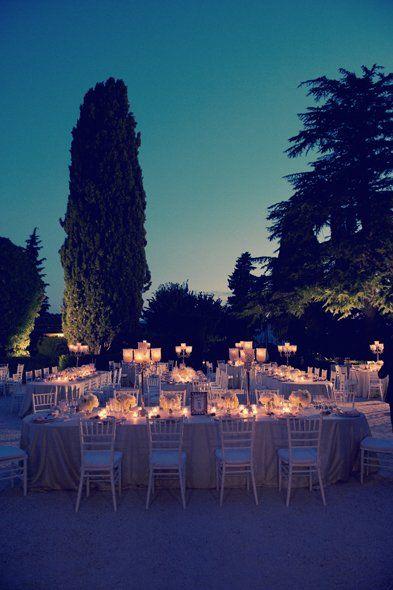 Outdoor reception venue by night in Italy