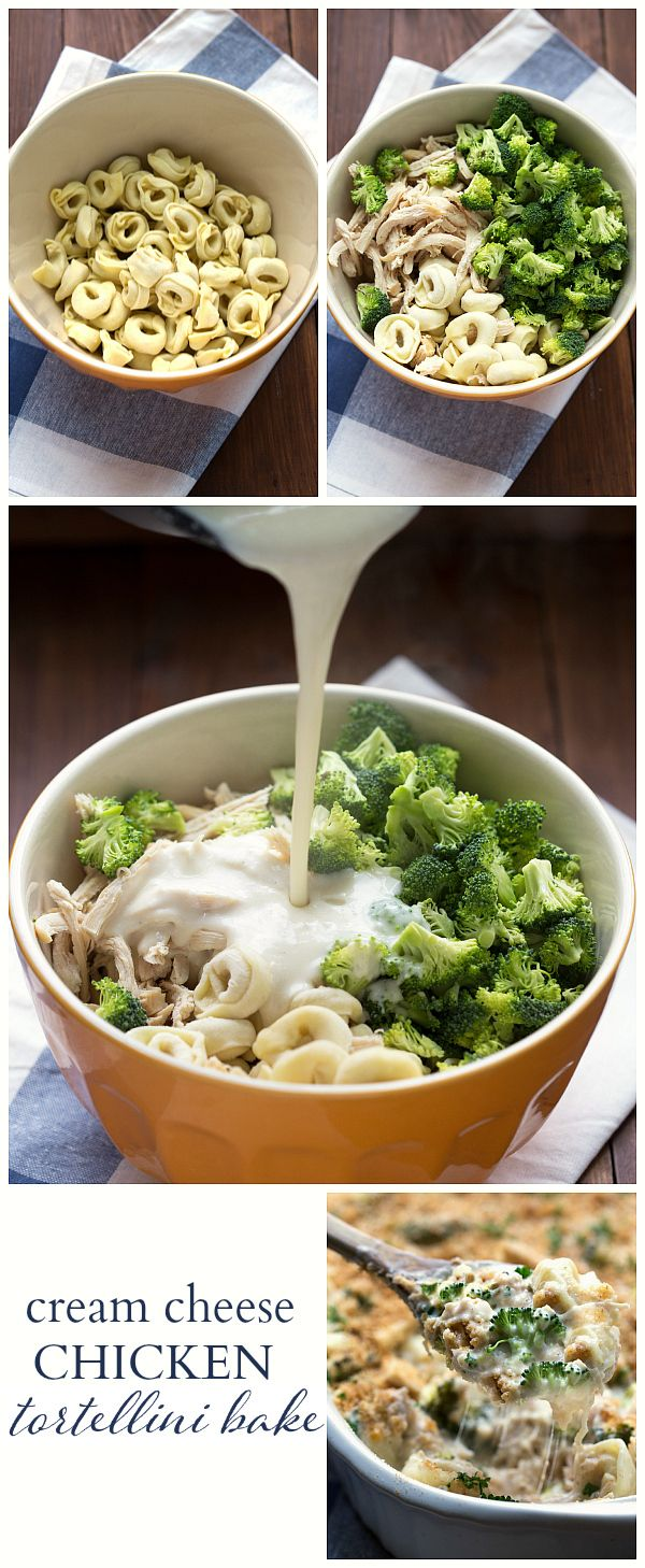 EASY Cream Cheese Chicken Tortellini Bake - all put in one casserole dish (even the unbaked tortellini) and baked! I made this with a few modifications and it came out well. Very creamy, so be warned.