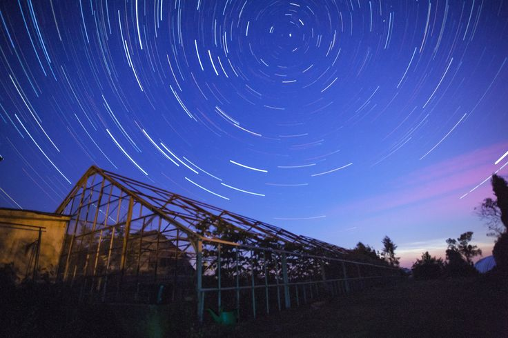 Star trails over the greenhouse - To stacking over 150 photos i used StarStaX software.