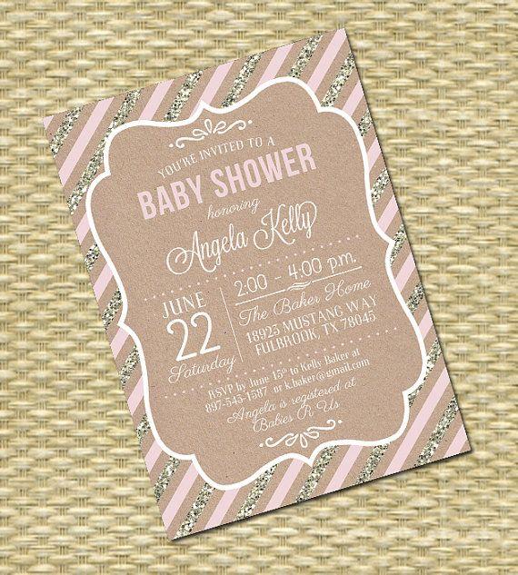 Kraft Glitter Stripes  Baby Girl Shower by SunshinePrintables, $18.00