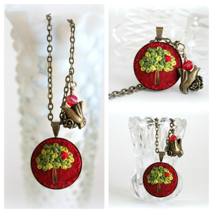 Embroidered Jewelry. Embroidered Necklace. Hand Embroidery Necklace.Tree Necklace. Felt Pendant Necklace. Pendant Necklace. Cute Necklace.. $20.00, via Etsy.