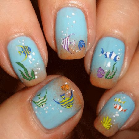 Fish nail art - Little Fishies Nail Water Decals!