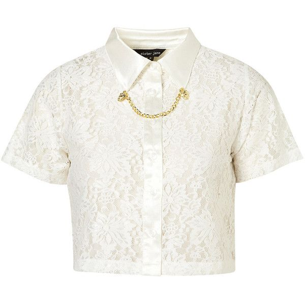 **Lionhead Lace Top by Sister Jane (€71) ❤ liked on Polyvore featuring tops, blouses, shirts, crop tops, white, lace collar blouse, white crop shirt, chain shirt, white collar shirt and collared shirt