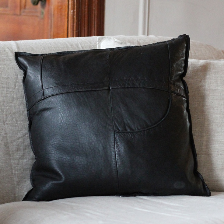 leather pillow from recycled leather coats.