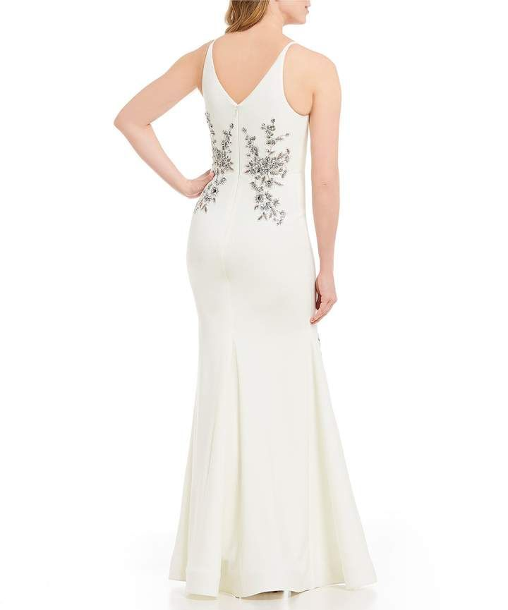 f172acc9c0b Xscape Evenings Long Embroidered V Neck Sleeveless Gown  Long Evenings  Xscape