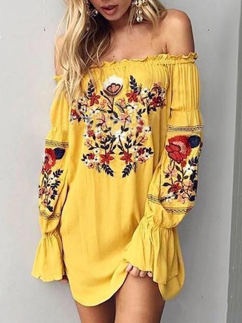 c64c2919e5 Beautiful Chiffon Bohemia Floral 3/4 Sleeve V Neck Maxi Dress 02 in ...
