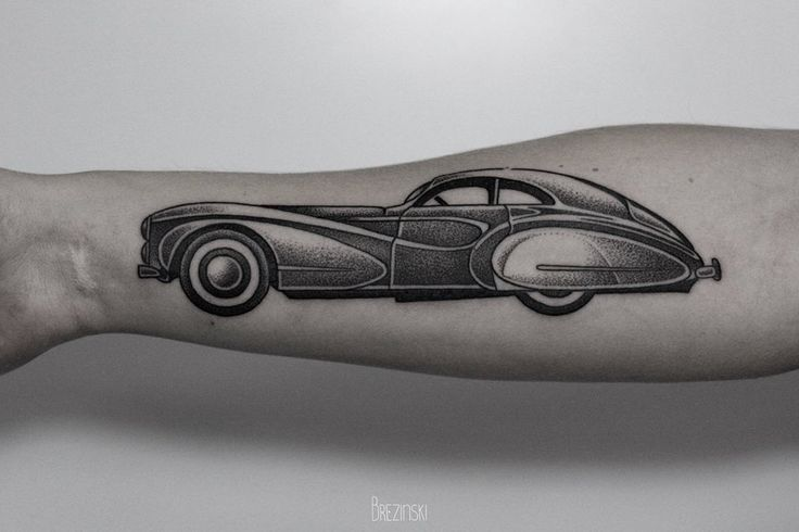 Awesome vintage car tattoo by Ilya Brezinski.