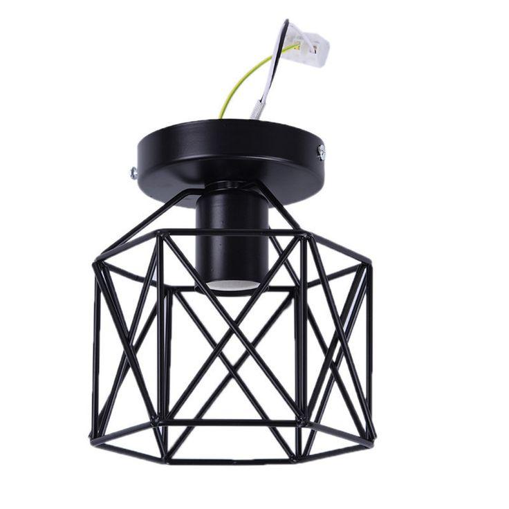 New vintage birdcage ceiling lights iron minimalist retro ceiling lamp Scandinavian loft pyramid lamp metal cage fast shipping