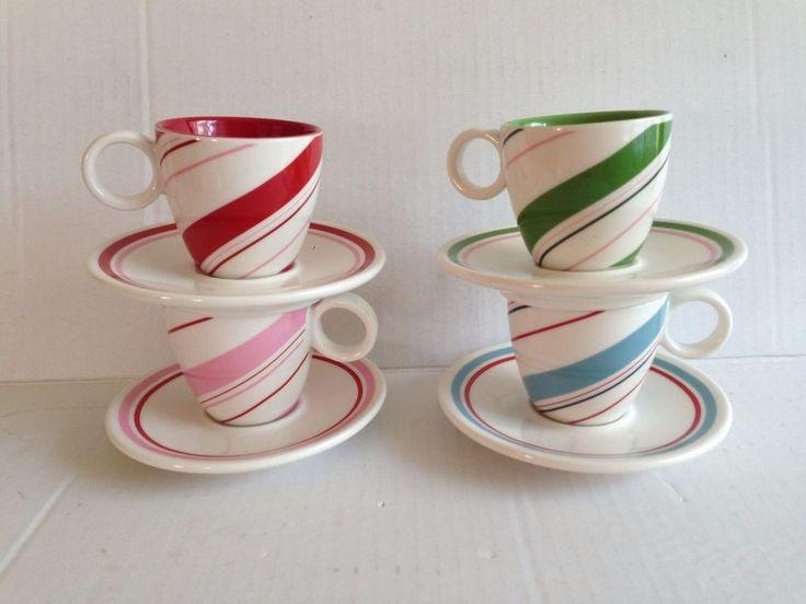 Starbucks Christmas mugs and saucers candy cane demitasse cappucino #Starbucks