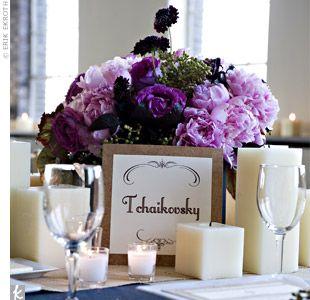 Purple wedding centerpiece: Ideas, Silk Flowers, Low Flowers Centerpieces, Flower Centerpieces, Color, Low Centerpieces, Wedding, Squares Candles, Center Pieces