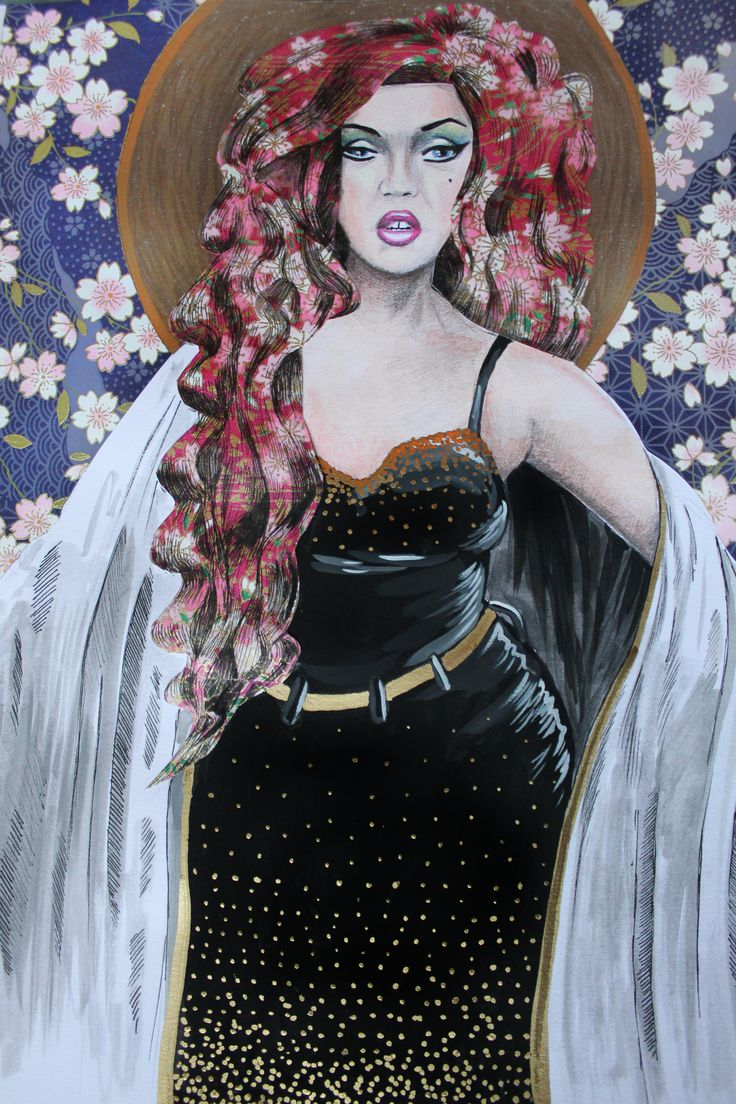 Portrait inspired by Adore Delano.  Mixed media on paper.  2015