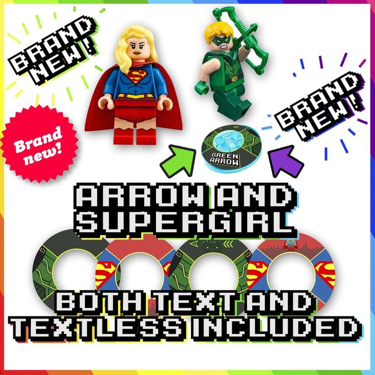 NEW! ARROW and SUPERGIRL Lego Dimensions Base Stickers - Both TEXT and TEXTLESS