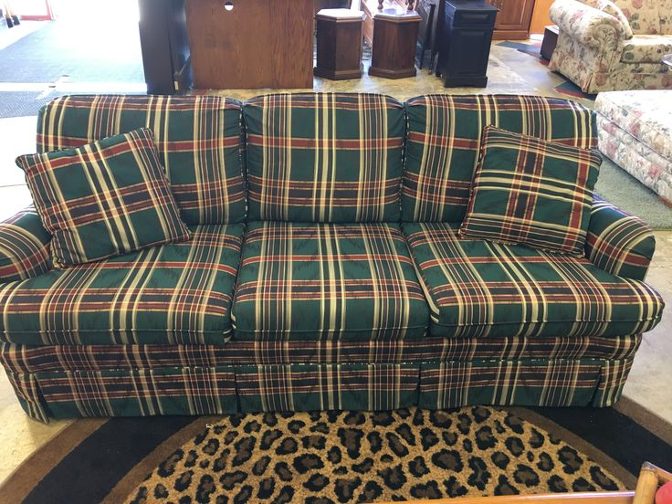Add color and character in your home with this lovely plaid sofa- $325 #plaid #sofa #couch #design #color #character #livingroom #basement #mancave #forsale #sale #design #decor #homedecor #homedesign #store #local #kansas #shop #online