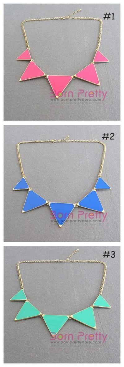 $2.99 1pc Fashion Colorful Triangle Pendant Necklace - BornPrettyStore.com