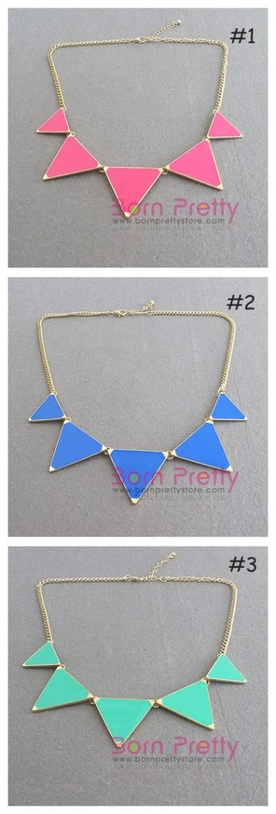 $2.99 1pc Fashion Colorful Triangle Pendant Necklace - BornPrettyStore.com