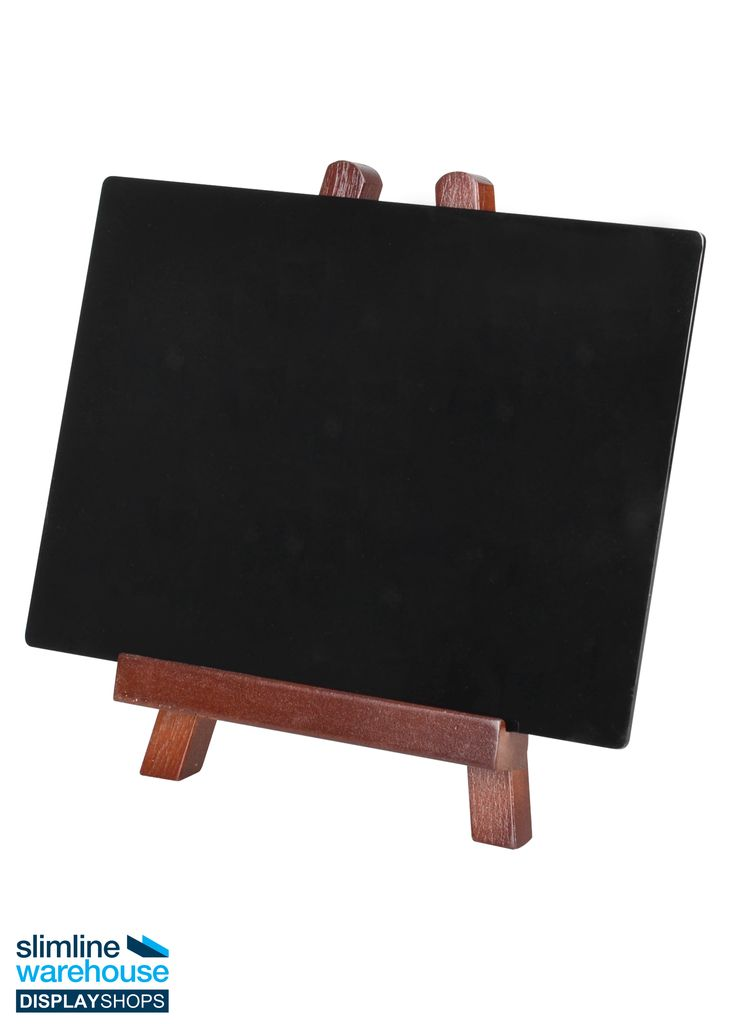 Blackboard and Easel This blackboard and easel combination make it easy to create eye-catching signs that will draw in customers and alert them to your upcoming events, menu items, or specials. These wooden easels are made of beechwood for a low cost easel that provides durability as well. The rich mahogany finish adds a touch of class and fits in easily with every décor. The back leg can be angled however you wish to best meet the gaze of passersby whilst placed on a table or countertop.
