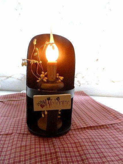 Primitive Metal SCOOP & SPOOL Welcome Light Very Prim Folksy Rustic Country Lighting via Orphaned Treasures Etsy