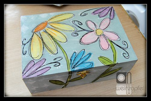 Painted Cigar Box by Tracy Weinzapfel