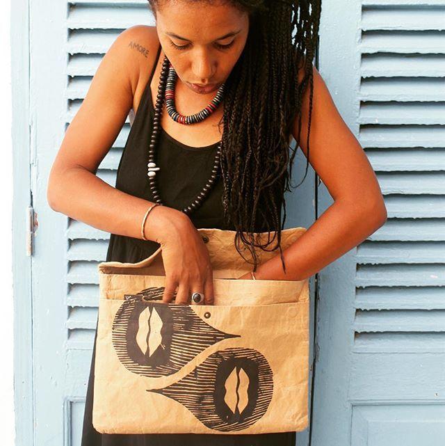 Diana Ejaita, designer of our Optical Africa screenprints with her customised Laptop Sleeve. Image curtesy of Diana.