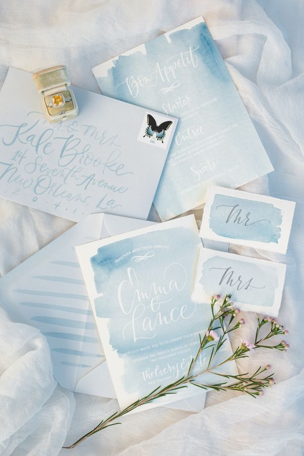 watercolor wedding stationery - photo by Nicoll's Wedding Photography http://ruffledblog.com/whimsical-garden-wedding-ideas