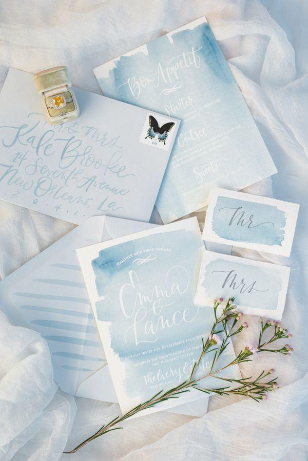 watercolor wedding stationery - photo by Nicoll's Wedding Photography http://ruffledblog.com/whimsical-garden-wedding-ideas