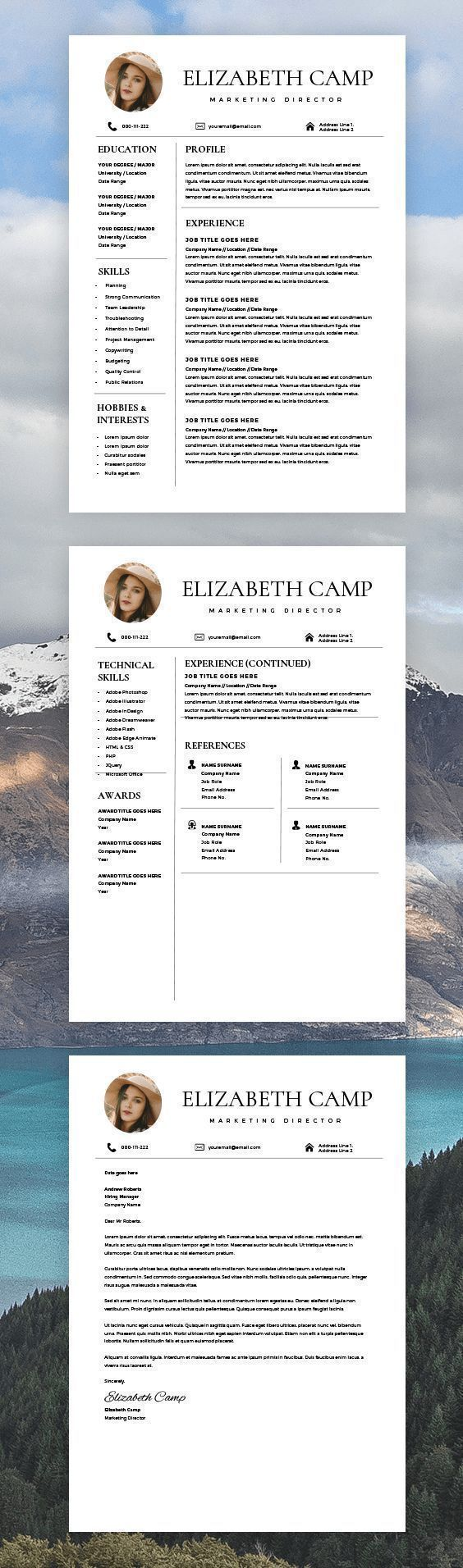 Resume Template with Headshot Photo Cover