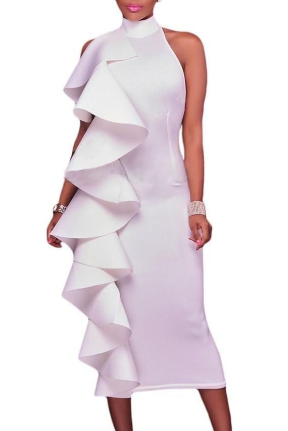 Robe de Soiree Blanche a Volant Mi longue Col Roule Dos Nu Pas Cher www.modebuy.com @Modebuy #Modebuy #Blanc #Blanc #robes #femmes