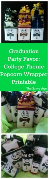 No sew DIY. College theme graduation party favor. Easy to make Popcorn Wrapper Printable.