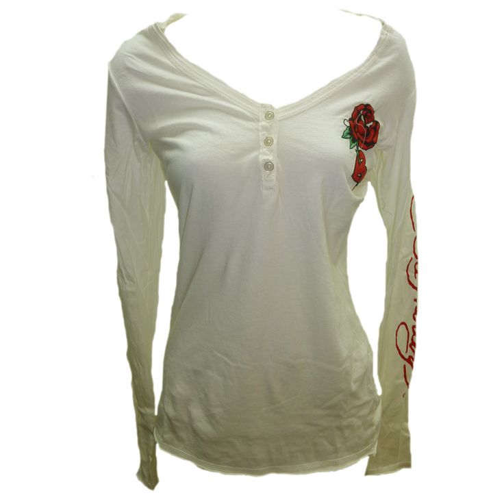 Ed Hardy Womens Rose and Heart V-Neck Henley-Cream