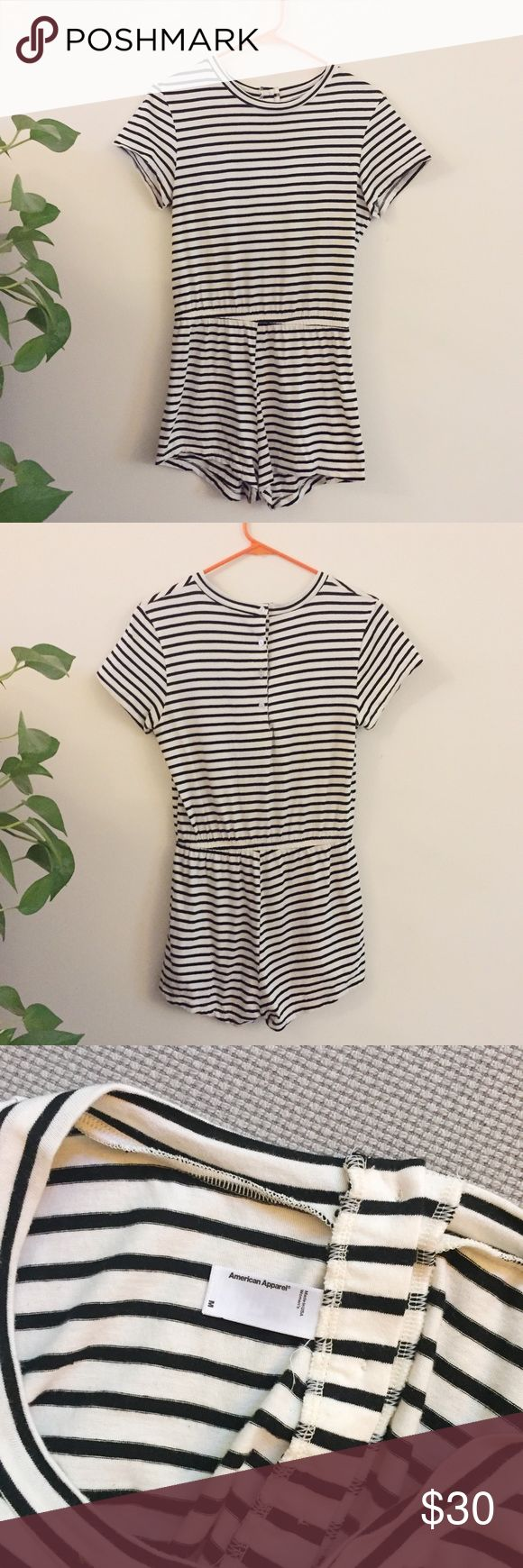 American Apparel Striped T-shirt Romper Super soft and comfy black & white striped t-shirt romper from American Apparel. Size M, but runs small. Fastens with buttons on the back. Worn once, like new condition! American Apparel Shorts