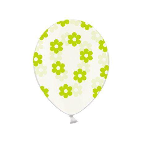 Ballonger - Klar med Blomster i Eplegrønn - 6 stk