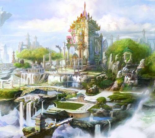 "World Inspiration: Elfen capital of Aur'oste, ""The Golden City."""