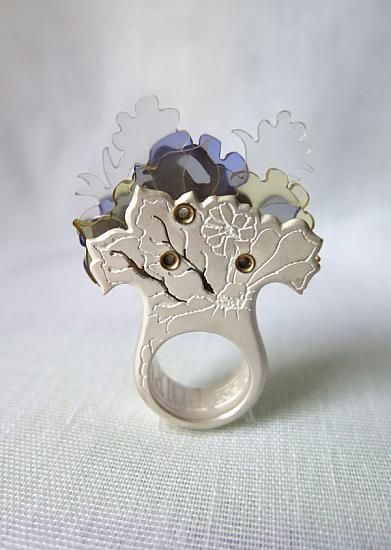Sculptural Ring inspired by nature - silver, brass rivets, plexiglass & dispersed dyes; contemporary jewellery design // Wile'e Malia