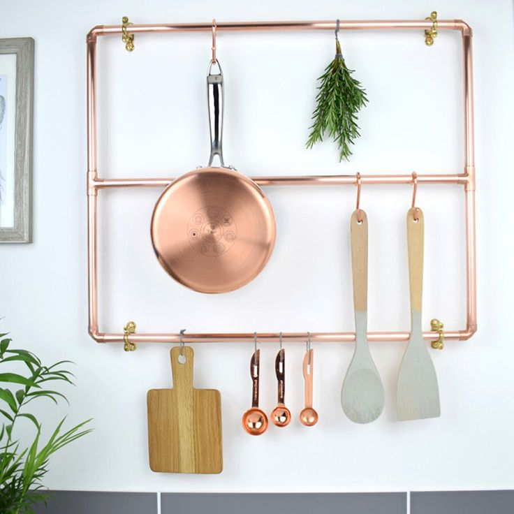 Bespoke, Modern Copper Pot And Pan Rack, by ProperCopperDesign on Etsy https://www.etsy.com/listing/479924623/bespoke-modern-copper-pot-and-pan-rack