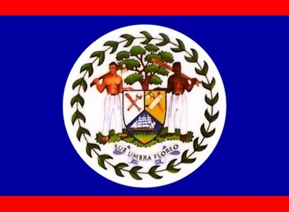 National flag of Belize from http://www.flagsinformation.com/belize-country-flag.html  Blue with a narrow red stripe along the top and the bottom edges; centered is a large white disk bearing the coat of arms; the coat of arms features a shield flanked by two workers in front of a mahogany tree with the related motto SUB UMBRA FLOREO (I Flourish in the Shade) on a scroll at the bottom, all encircled by a green garland.