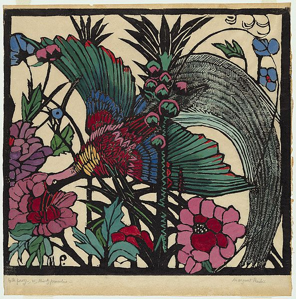 Margaret PRESTONBird of Paradise. 1925 relief woodcut, printed in black ink, from one block; hand-coloured  Impression: 8/50  Edition: edition of 50, hand-coloured