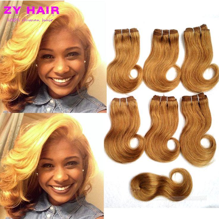 Brazilin Onda del cuerpo 6 paquetes 7a cortas del pelo Brazilin teje corto Ombre onda del cuerpo del Color mezclado pelo