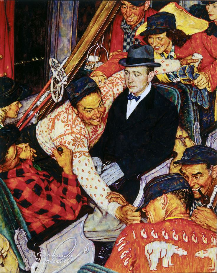 Skiers On A Train by Norman Rockwell, January 24, 1948 Saturday Evening Post cover. The ski trains to slopes in New Hampshire and Vermont were fixtures of New England winter life from the 1930s to the 1950s.