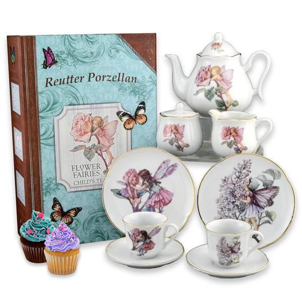 This exquisite, fully functional, children's tea set features the timeless collection of Flower Fairies. Each porcelain piece is hand-embellished in real gold!