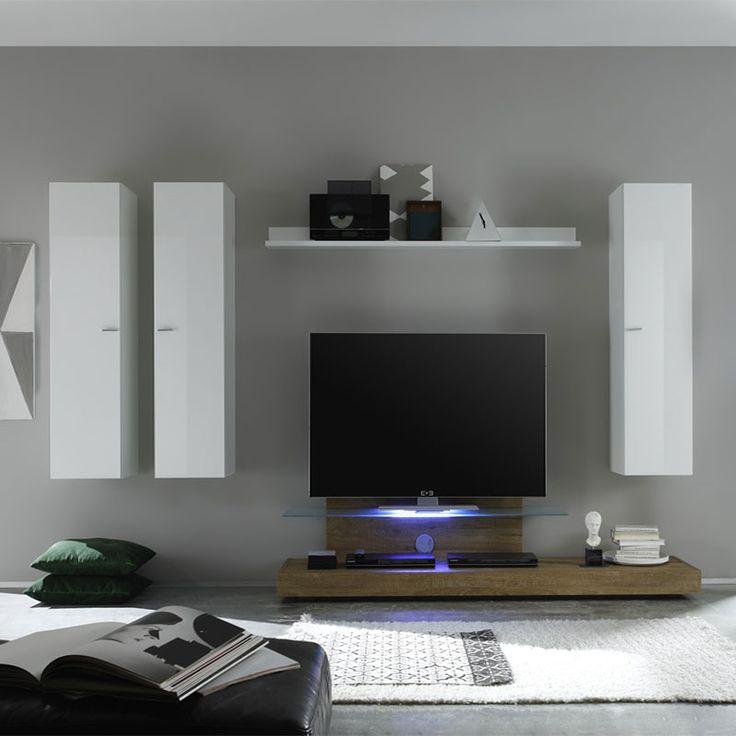 27 best ensemble de meubles tv images on pinterest for Meuble tv bois et blanc laque