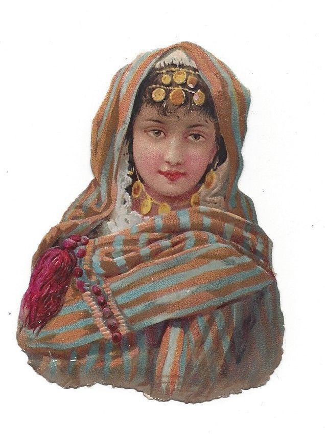 Victorian Die Cut Scraps Indian Woman